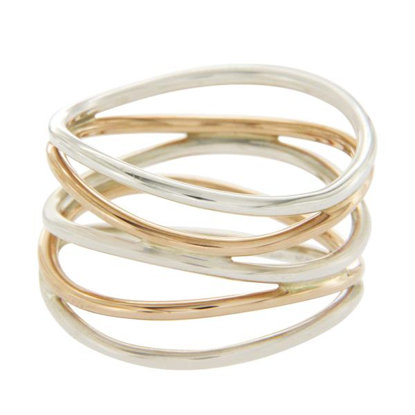 956391289f98e Details about Tiffany & Co Elsa Peretti Silver & 18K Rose Gold Wave 5 Raw  Ring Size 6 $1000