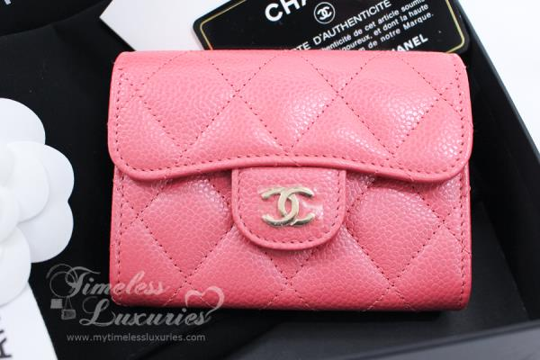 New Chanel 18s Pearly Pink Caviar Xl Card Holder Back Pocket Ebay