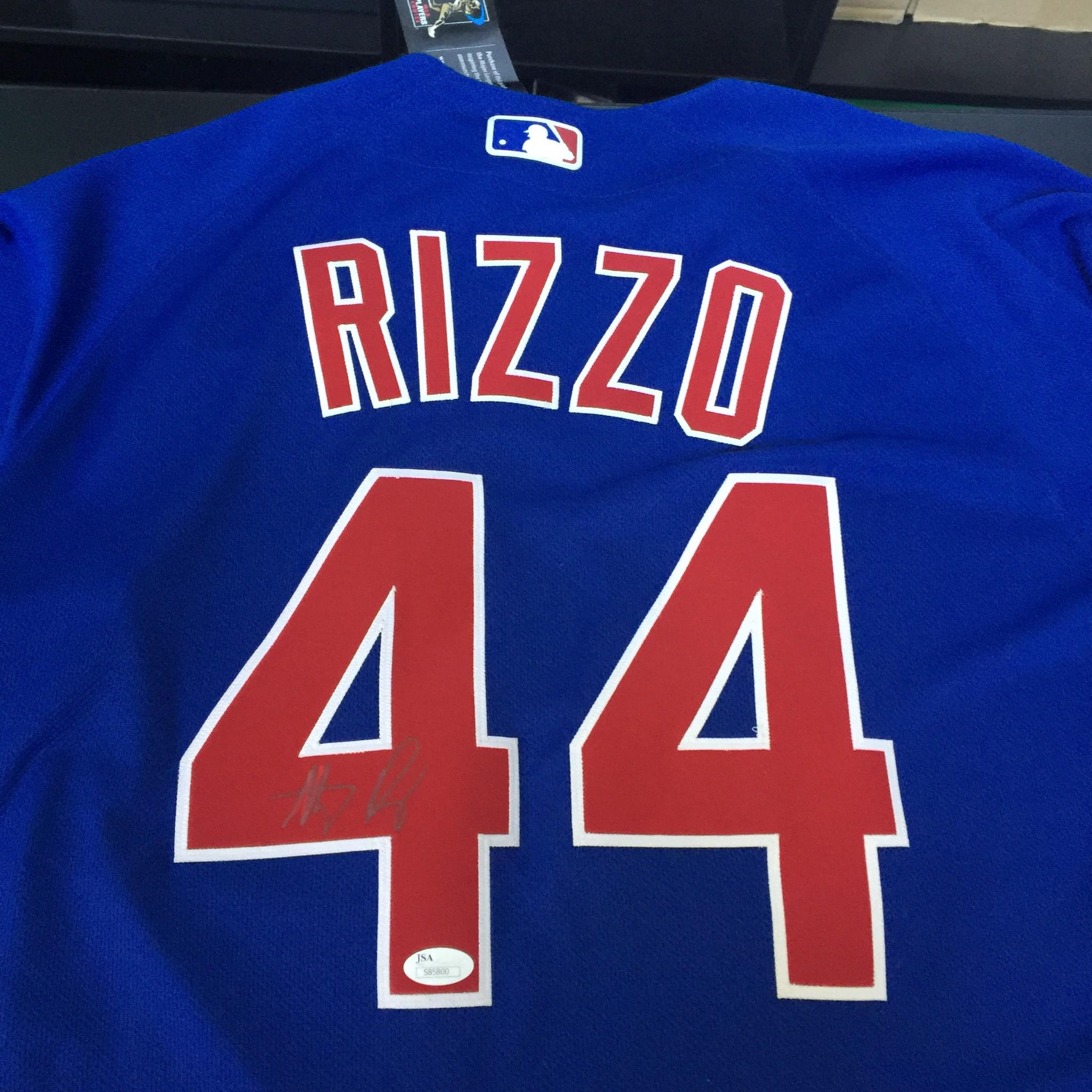 best service cbc7b 394ed Details about Anthony Rizzo Signed Autographed Authentic Majestic Chicago  Cubs Jersey JSA COA