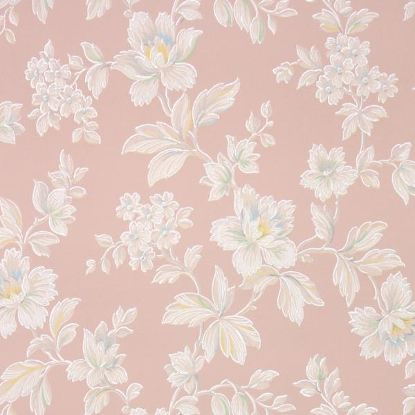 1930s Floral Vintage Wallpaper White Flowers With Pastel