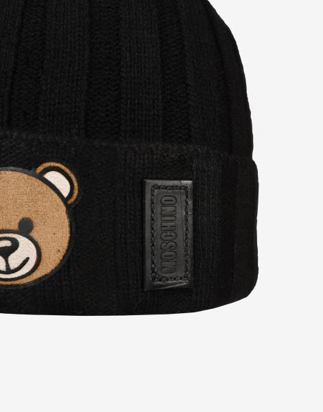 2854c4e25ecde3 Moschino Bear Hat Ribbed with Decoration Moschino Teddy Bear Man ...