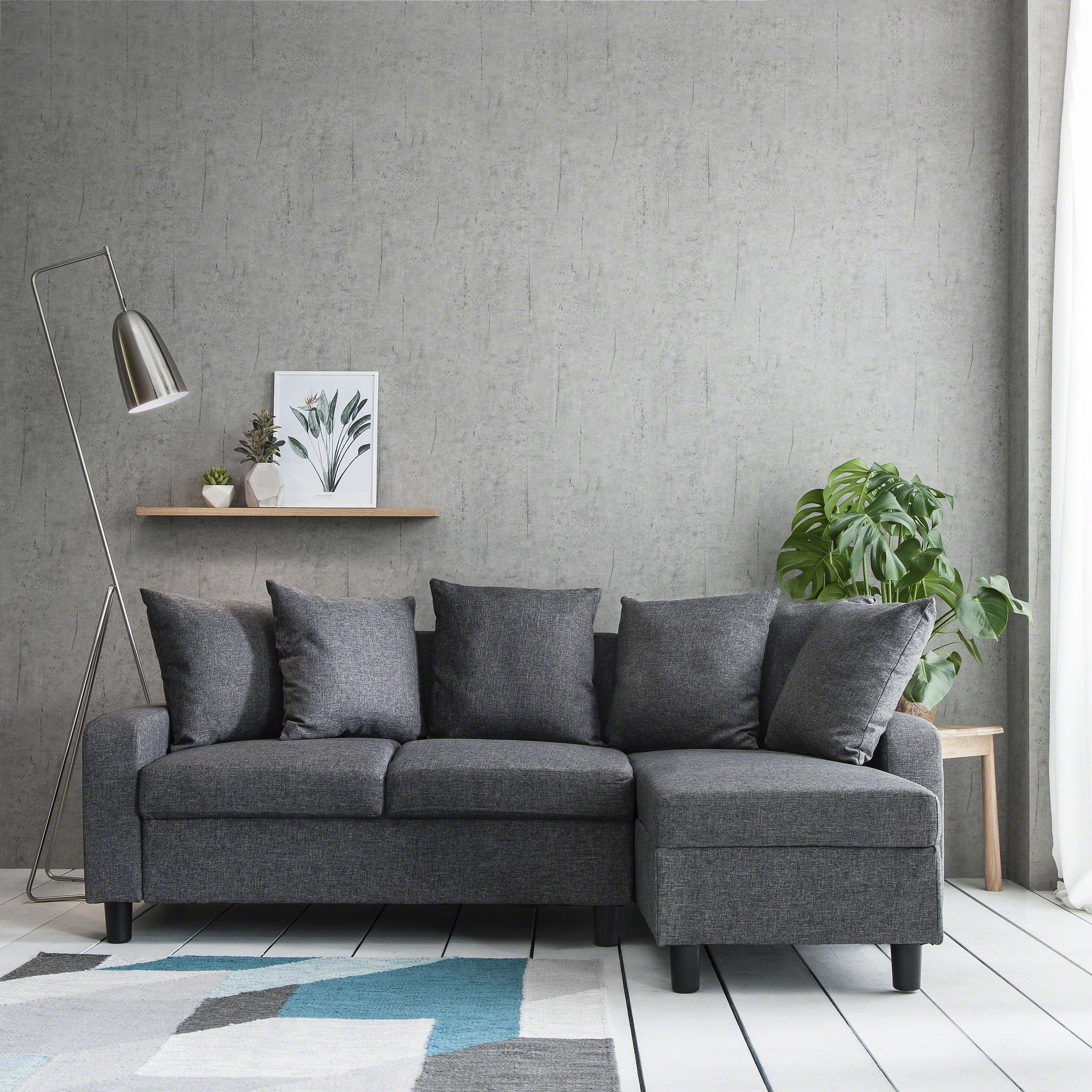 corner sofa left right hand side grey 5060498141383 ebay. Black Bedroom Furniture Sets. Home Design Ideas