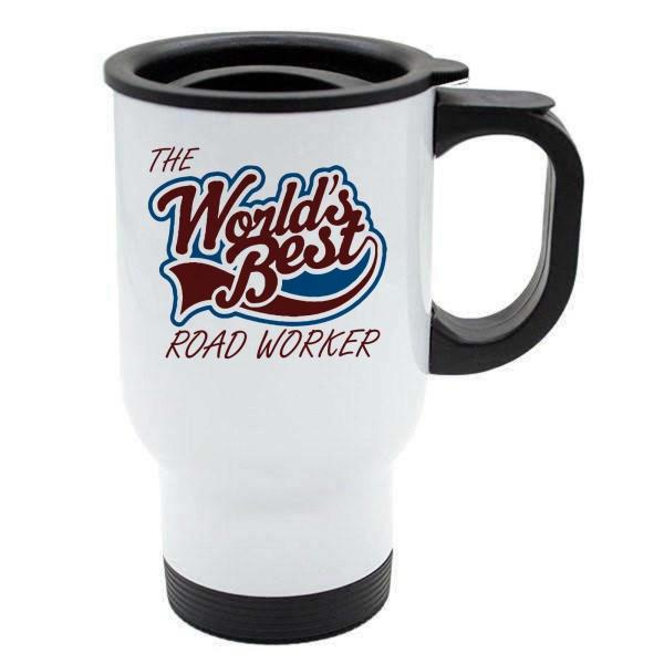 Stainless Steel The Worlds Best Road Worker Thermal Eco Travel Mug
