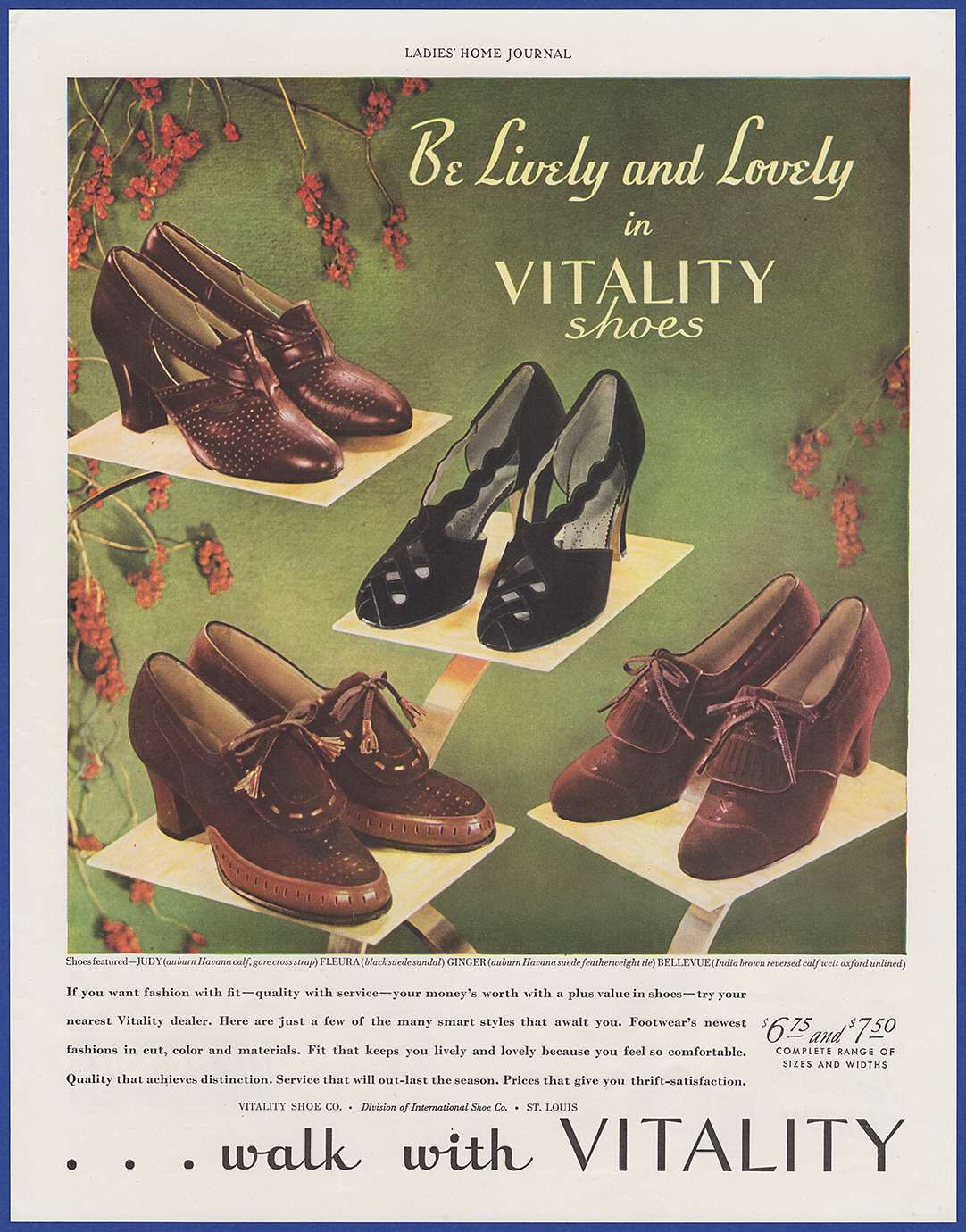 Details about Vintage 1938 VITALITY Shoes Women's Fashion Judy Fleura  Ginger Print Ad 1930's