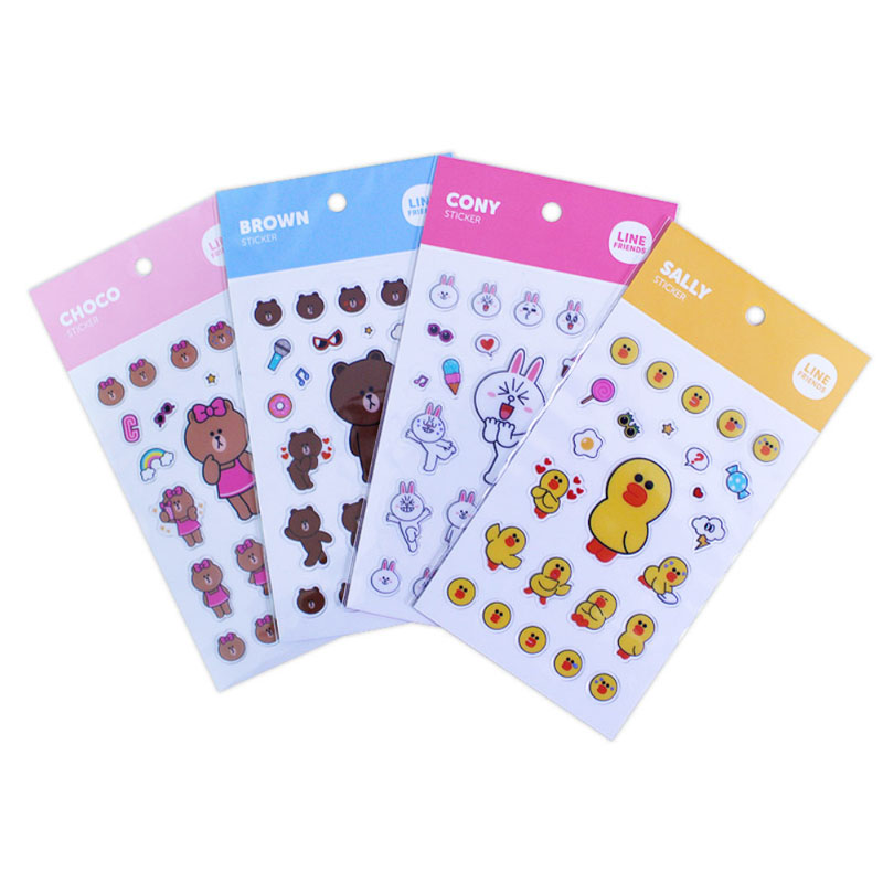 Line friends character mini clear ln stickers official goods scrapbooking deco