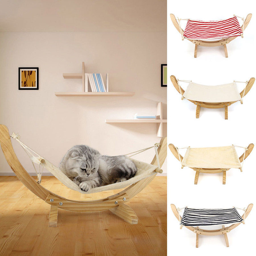 Details About Pet Cat Hammock Wooden Swing Bed Comfy Nest Dog Diy Assembly Swing Bed