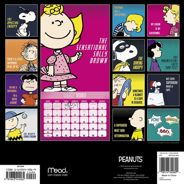 Calendario Snoopy 2020.Details About Peanuts Comic Strip 16 Month 2020 Wall Calendar New Sealed