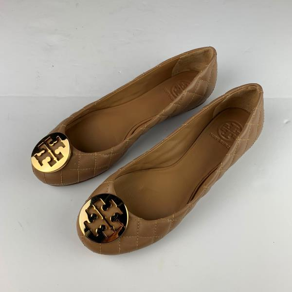 a7589c66520e Tory Burch Quinn Quilted Ballet Ballerinas Flats Tan Brown Leather ...