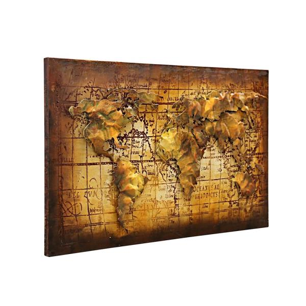 World map 3d metal art 100 handmade metal unique wall art wall be sure and visit our ebay store categorized panel wall art on canvas prints and paintings gumiabroncs Gallery
