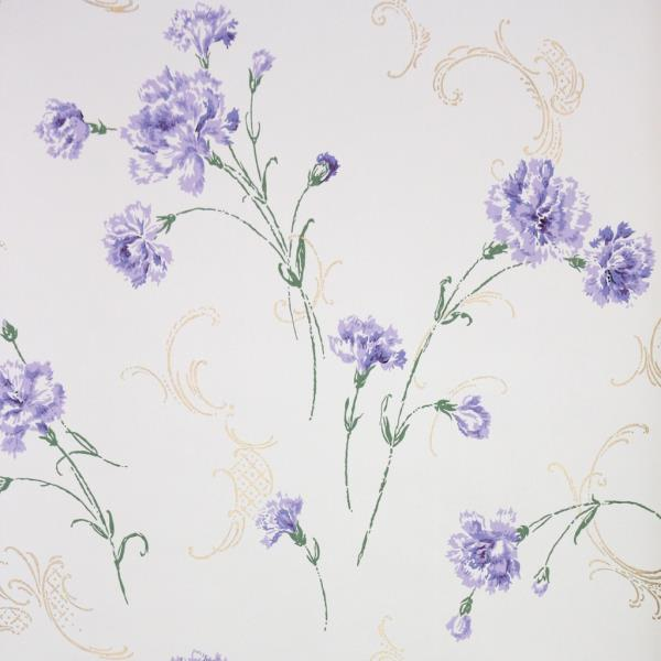 Details About 1950s Floral Vintage Wallpaper Purple Flowers Carnations On White