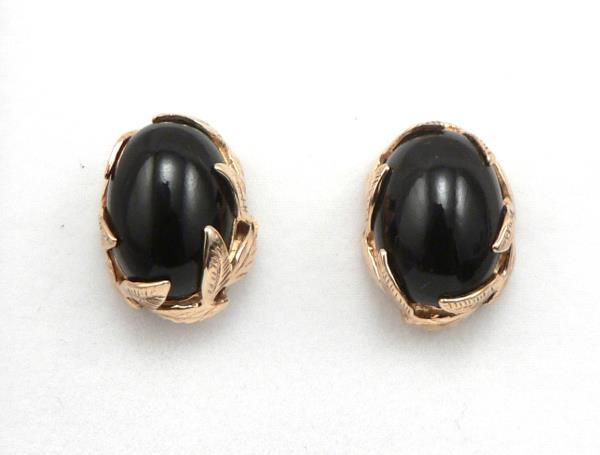 df6c8fbd1 ... is for a beautiful Pair of 14K Yellow GOLD and Black Coral Cabochon Pierced  Stud EARRINGS. These earrings were made by Maui Divers located in Hawaii.
