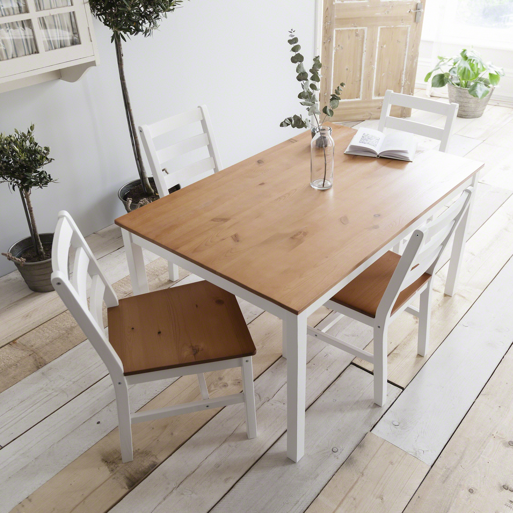 White Wooden dining table and 4 chairs set