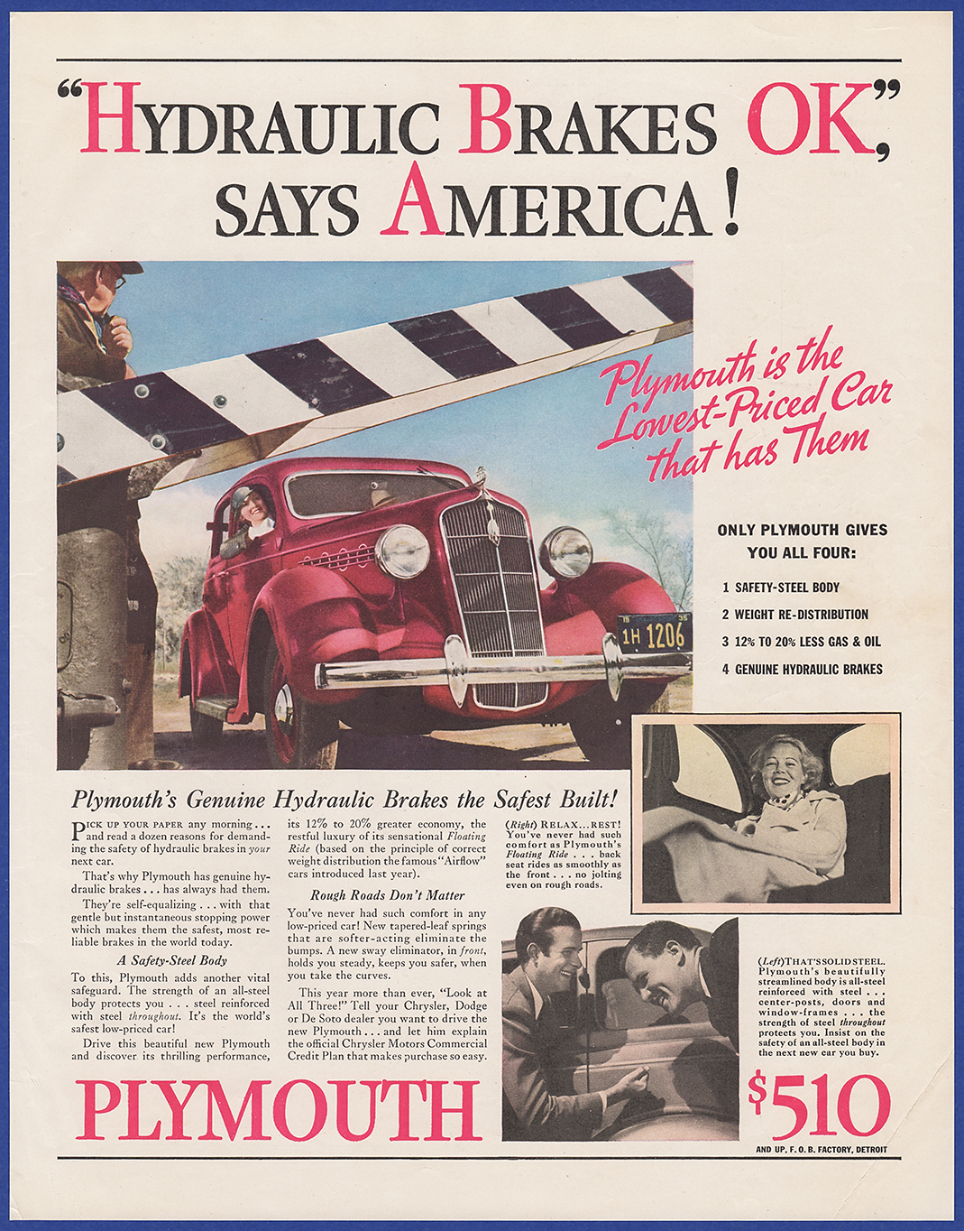 Vintage 1935 Plymouth Hydraulic Brakes Auto Garage Ephemera Print Ad 1960 Fury Station Wagon I Combine Shipping At No Extra Charge Add 3 Or More Ads To The Cart And Receive Free Checkout