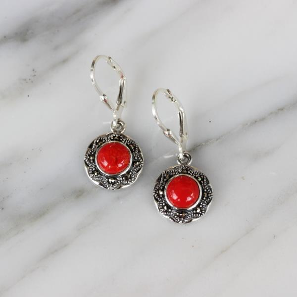 Genuine Sterling Silver Marcasite /& Red Resin 12mm Round Leverback Drop Earring