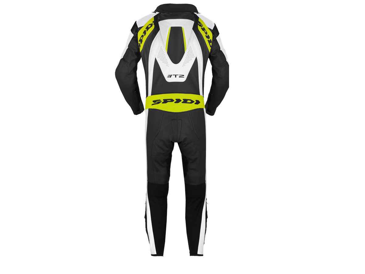 "SPIDI ""T-2 Neck DPS Wind Pro"" Motorcycle Racing Leather Suit Black/White/Green"