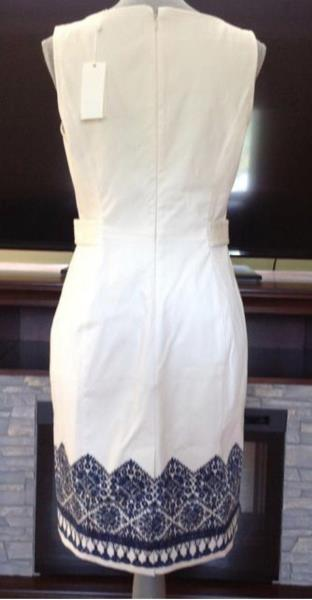 Tory Burch Dress Us 4 Ivory Navy Crochet Sleeves New With Tags Ebay