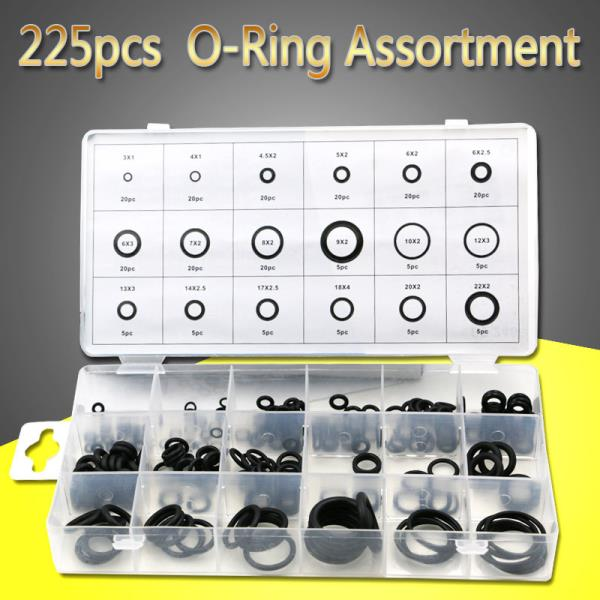 18 Sizes 225pcs New Tool Rubber O Ring O-Ring Washer Seals Asso rtment