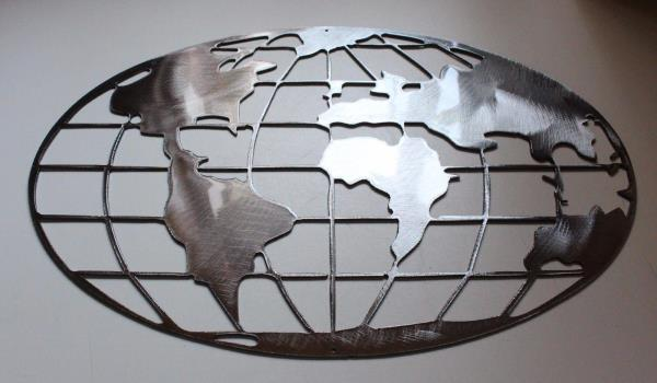 Metal Art World Map 36 Quot Wide Polished Steel Silver Metal