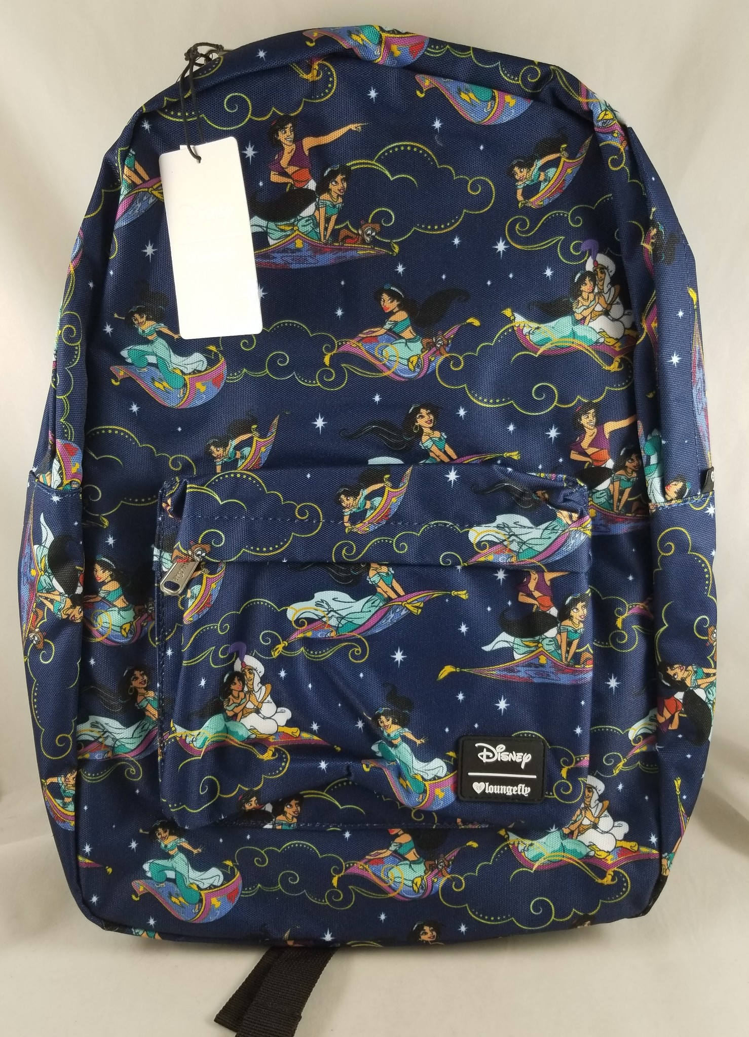f6817e41f21 Details about Loungefly Disney Parks Aladdin Carpet Ride Print Backpack  Book   Cosmetic Bag