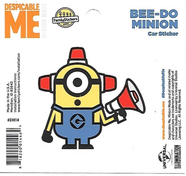 Despicable Me Minion Stuart Figure Peel Off Car Sticker Decal NEW UNUSED