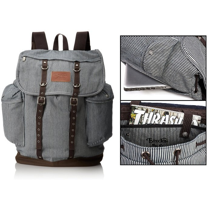Brixton Backpack Canyon Navy Stripe Skate School Bag FREE POST