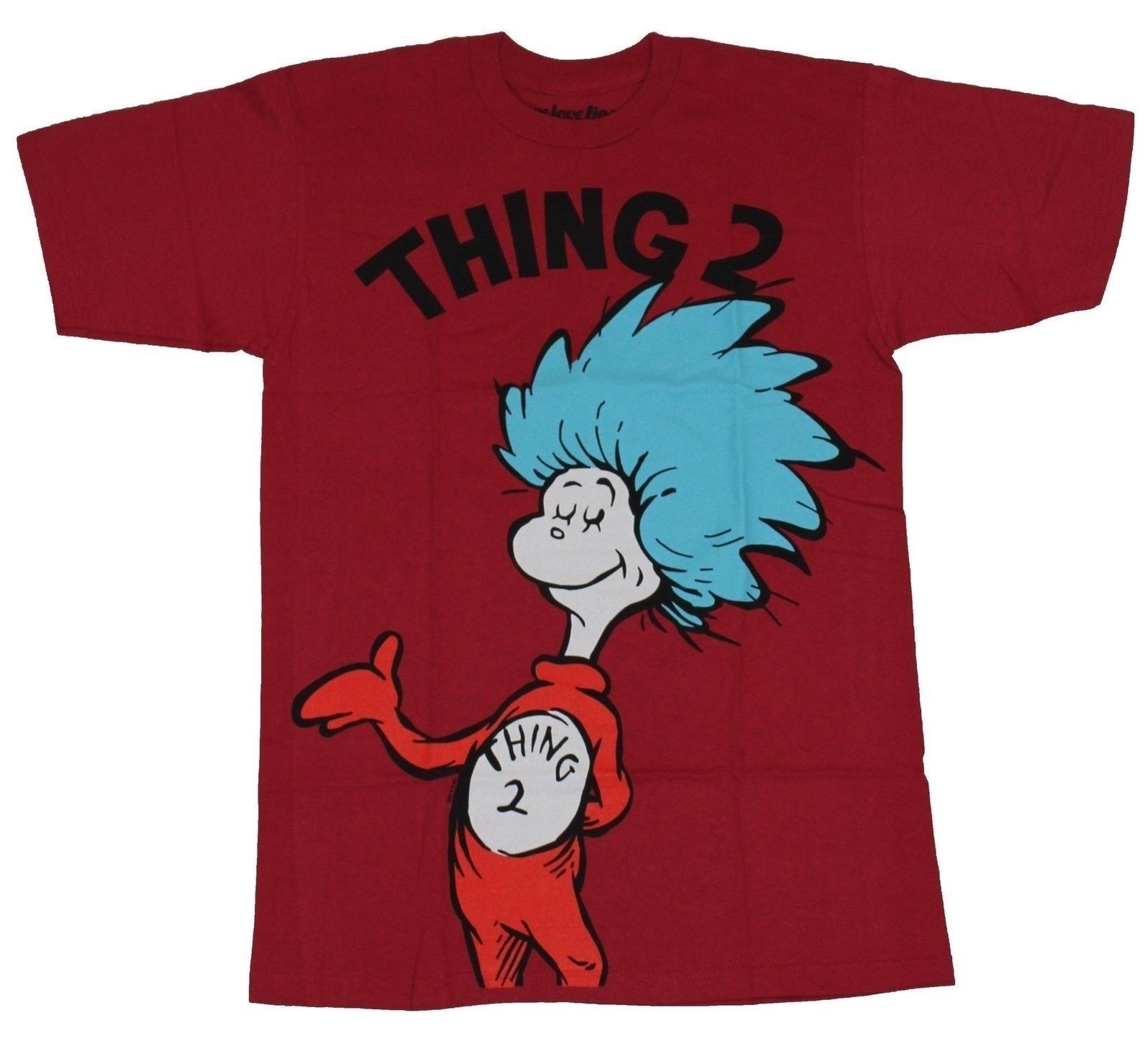 72e3cae9a Details about Dr. Seuss Cat in The Hat Mens T-Shirt - Thing 2 Full Drawing  Under Name