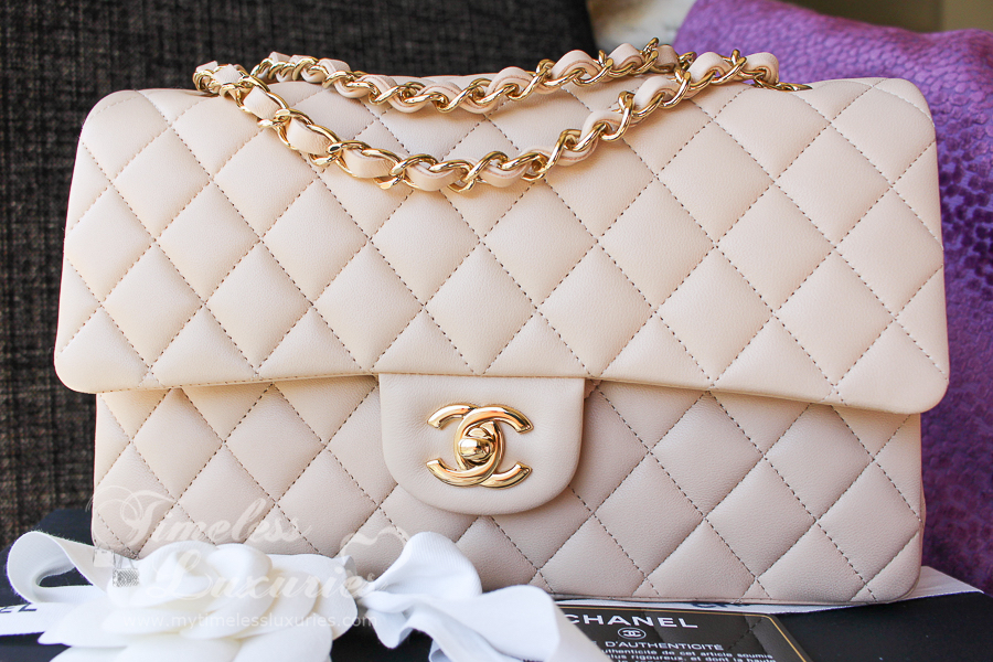 899d6b32864e NEW CHANEL BEIGE CLAIR CLASSIC DOUBLE FLAP BAG GOLD HW #16517430 | eBay