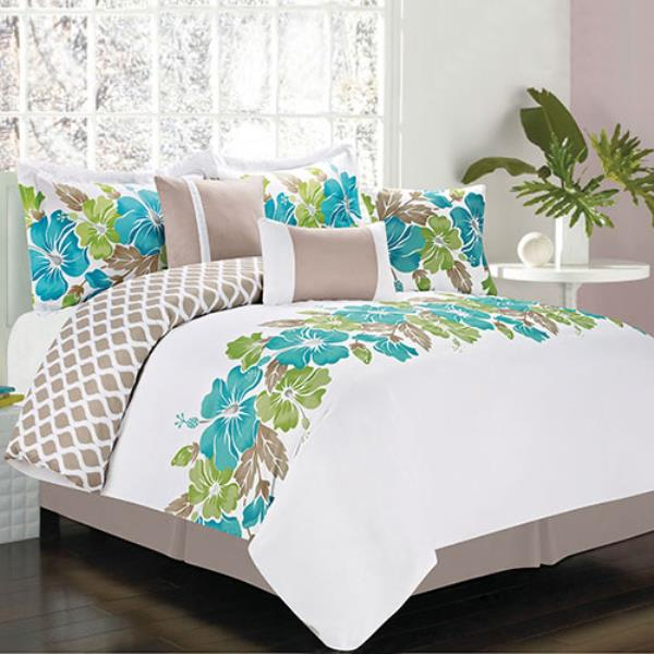 hawaiian flower bedding new bed bag king 7 pc teal white tropical 856