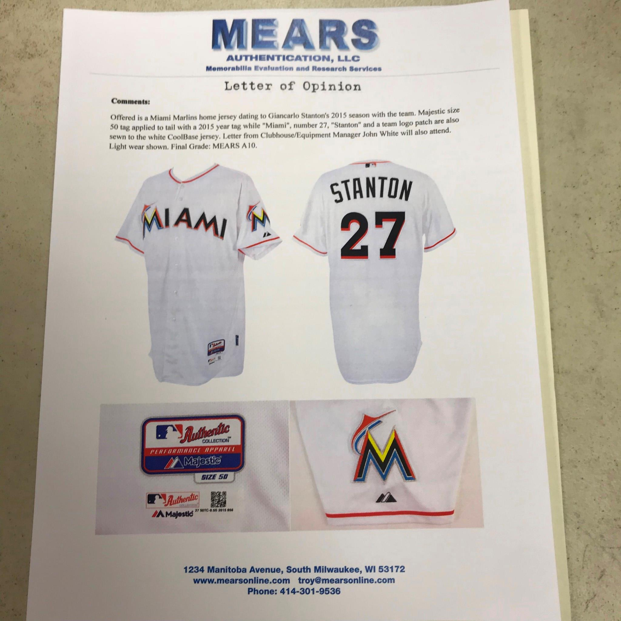 ac23232b0 2015 Giancarlo Stanton Miami Marlins Game Used Home Jersey MEARS A10 ...