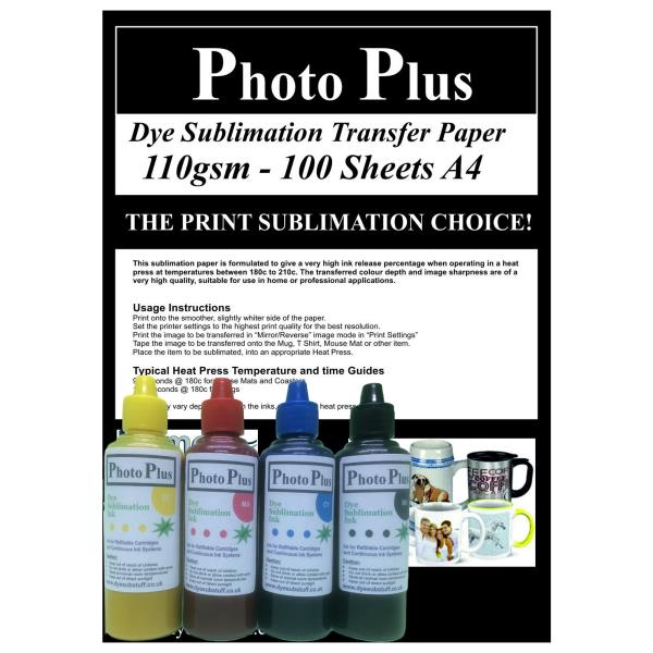 Details about PhotoPlus 200ml Dye Sublimation Ink and 100 Sheets Transfer  Paper - Wise Buy