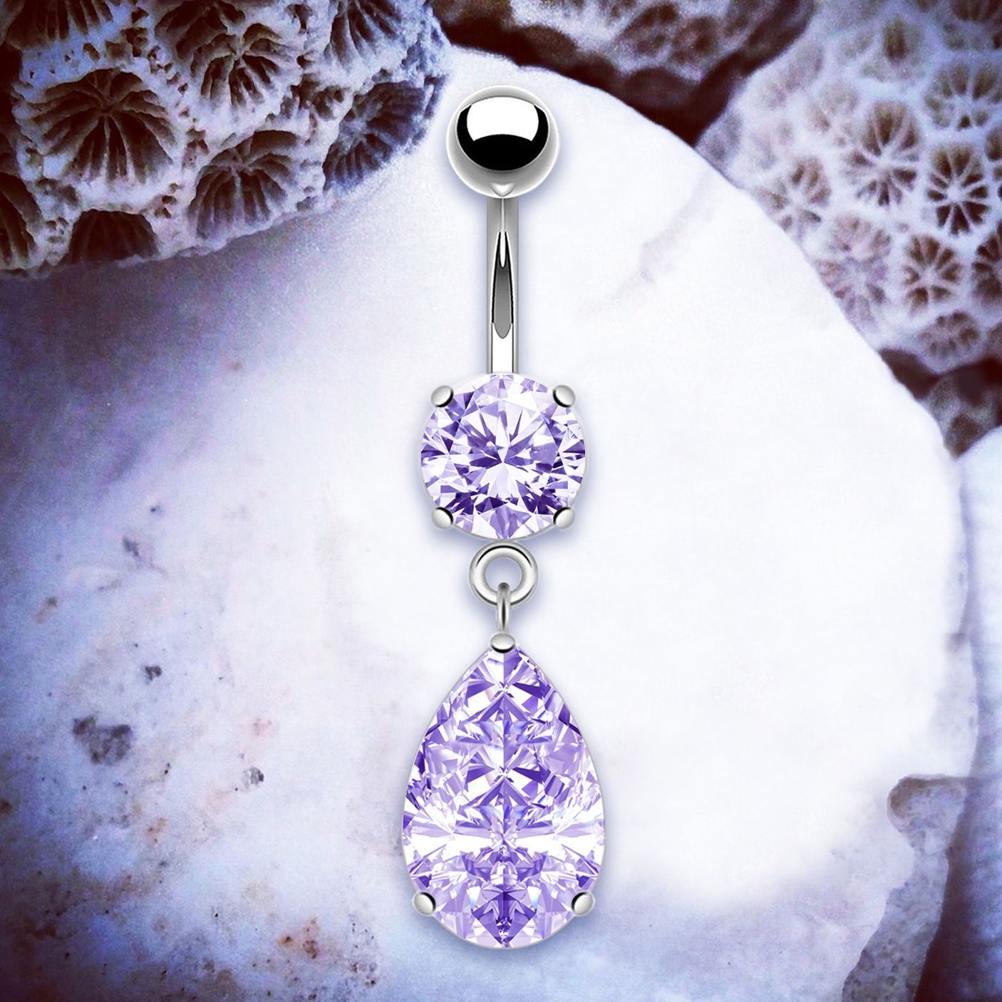 Details About Victoria Purple Belly Button Piercings Silver Belly Jewellery Dangle Navel Rings