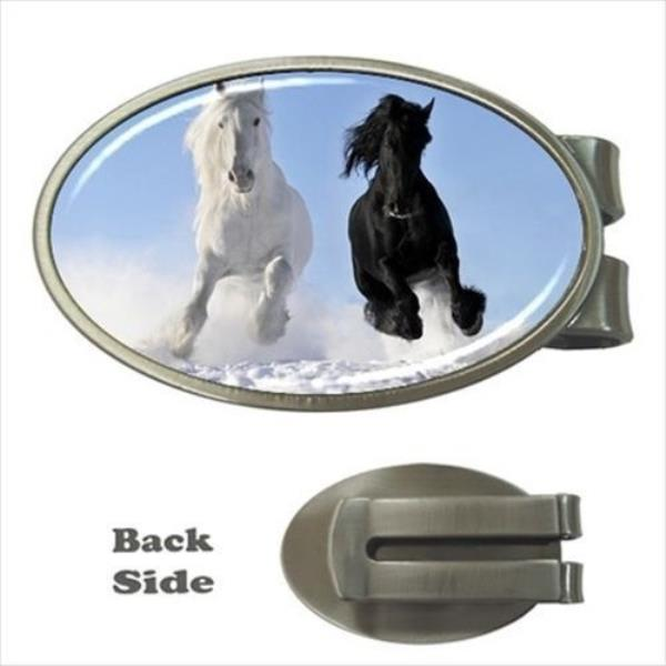 Horses Wild Running Pattern Satin Chrome Plated Metal Money Clip