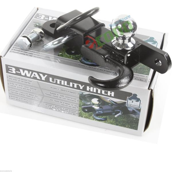 Lawn Tractor Hitch Receiver : Off road atv receiver trailer hitch quot way ball tow hook