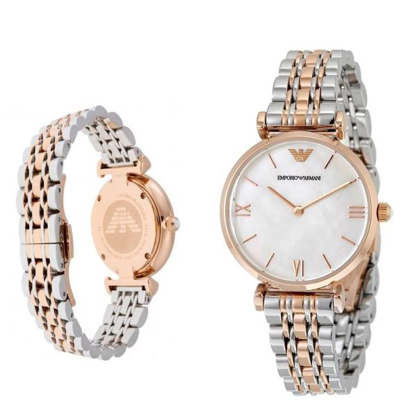 89dde1be Details about 100% New Emporio Armani AR1683 Two Tone Gianni T-Bar Classic  Ladies Women Watch