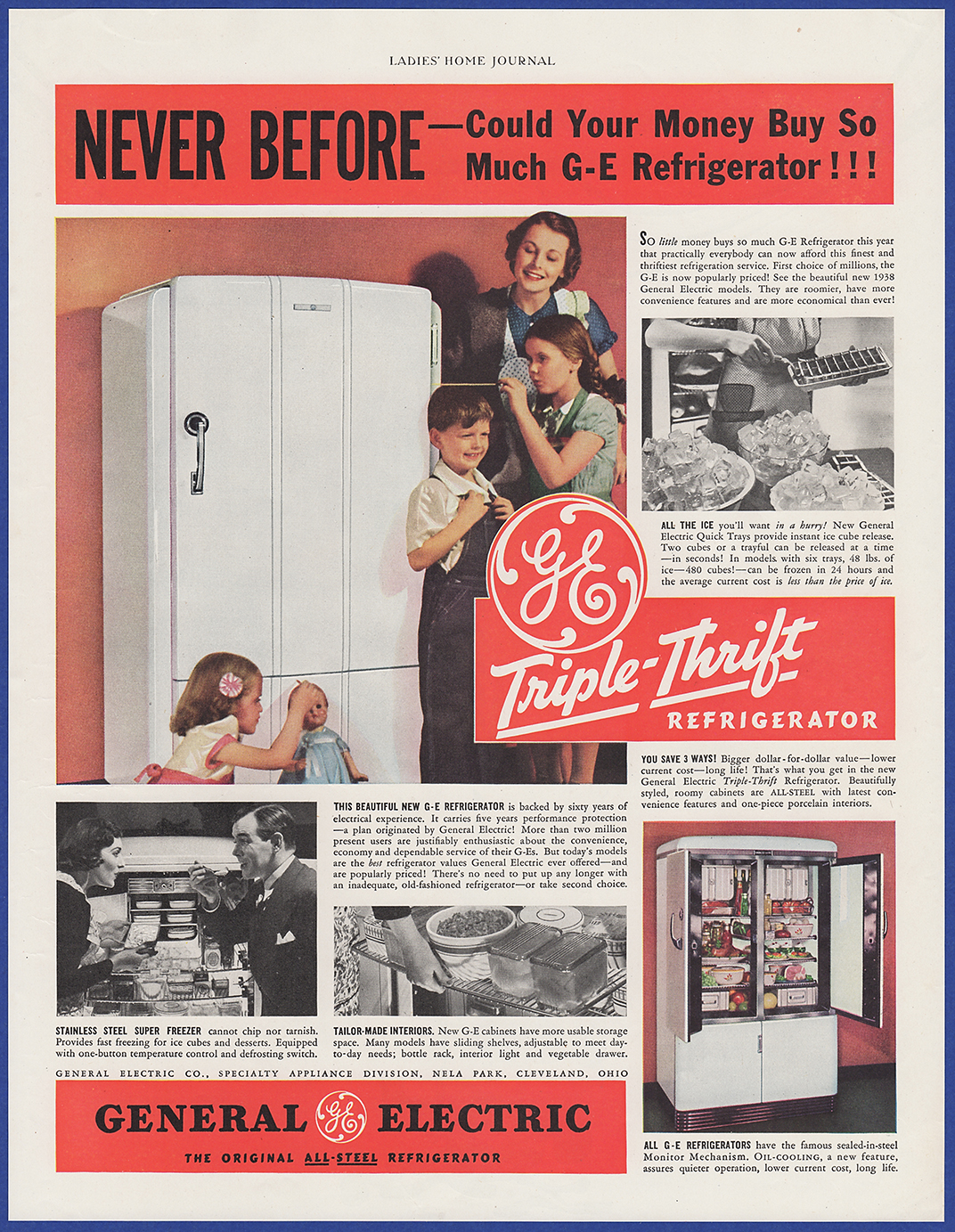 Details about Vintage 1938 GENERAL ELECTRIC GE Refrigerator Kitchen  Appliance Print Ad 30's