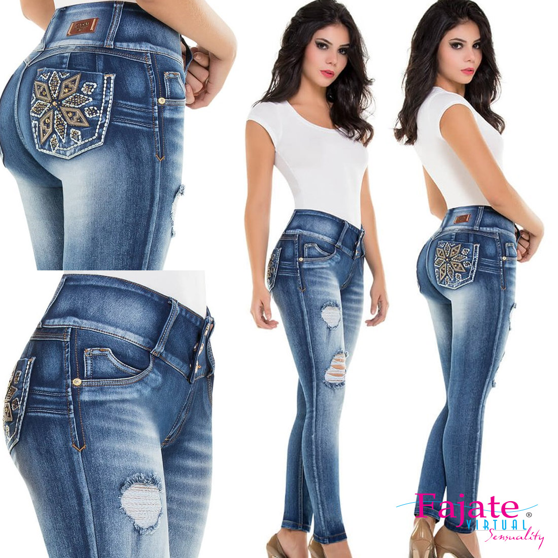 1e2a15f8b2f Colombian Jeans Levanta Cola Stretch Skinny Pockets Pants Slimming High  Waist