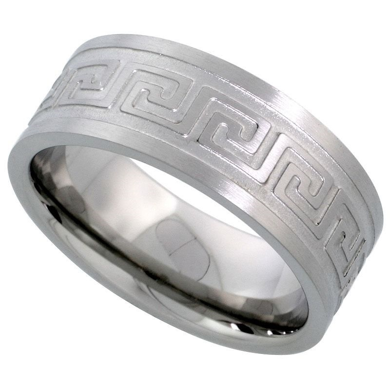 Etched Greek Key Sizes 7-14 Stainless Steel 8mm Comfort Fit Wedding Band Ring