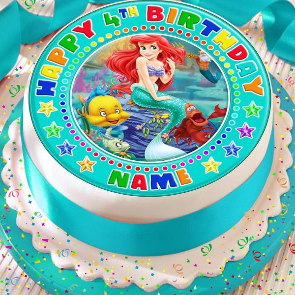 Ariel The Mermaid Green Personalised Precut Edible Birthday Cake