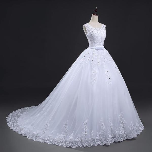 Long Train Lace Up Bow Princess Wedding Dresses White Bridal Ball ...