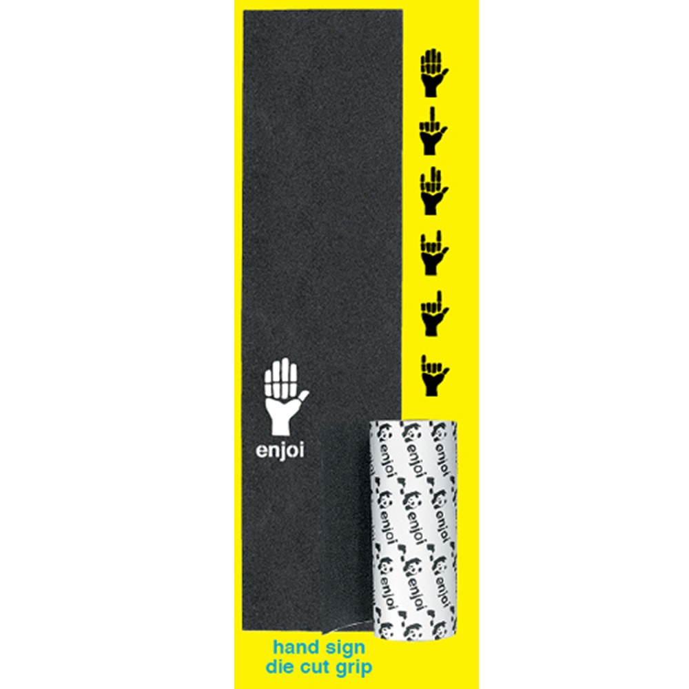 Enjoi Skateboards Grip Hand Signs Die Cut Black Griptape Full Deck Tape 9x33