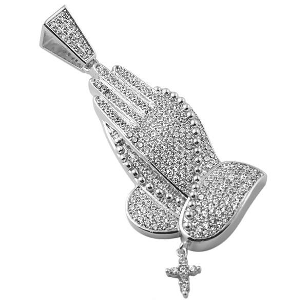 1f2262a94 Silver Finish Praying Hands Rosary Iced Out Lab Made Pendant   eBay