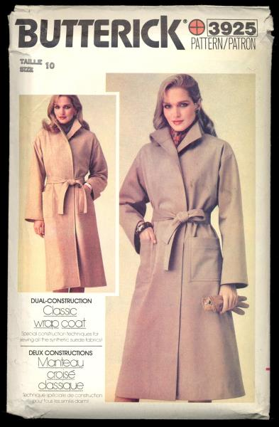Uncut Vintage Suede Classic Wrap Trench Coat Pointed Collar Sewing