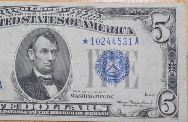Series 1934 A USA One Dollar $5 Silver Certificate Nice AU NOTE FR ...