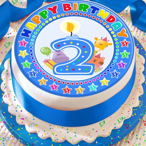 CANDLE AGE 2 2ND BIRTHDAY BLUE 75 INCH PRECUT EDIBLE CAKE TOPPER DECORATION