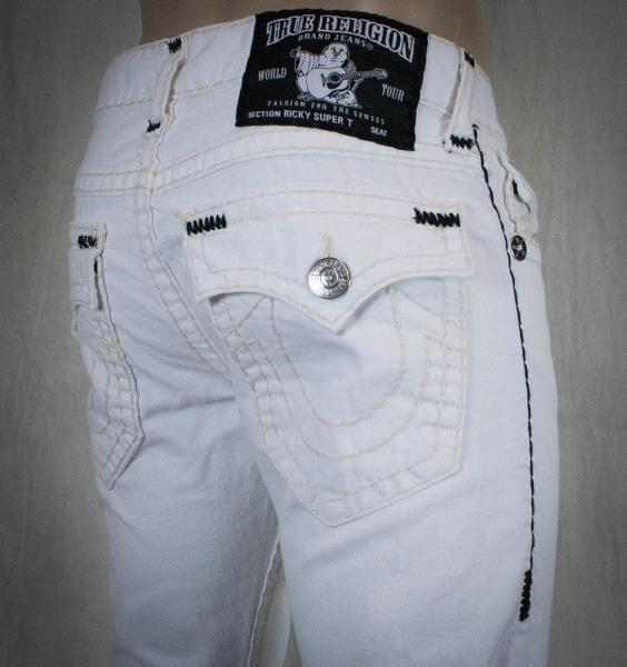 True Religion Black Distressed Denim White Stitching Men's ... |True Religion Jeans White With Black Stitching