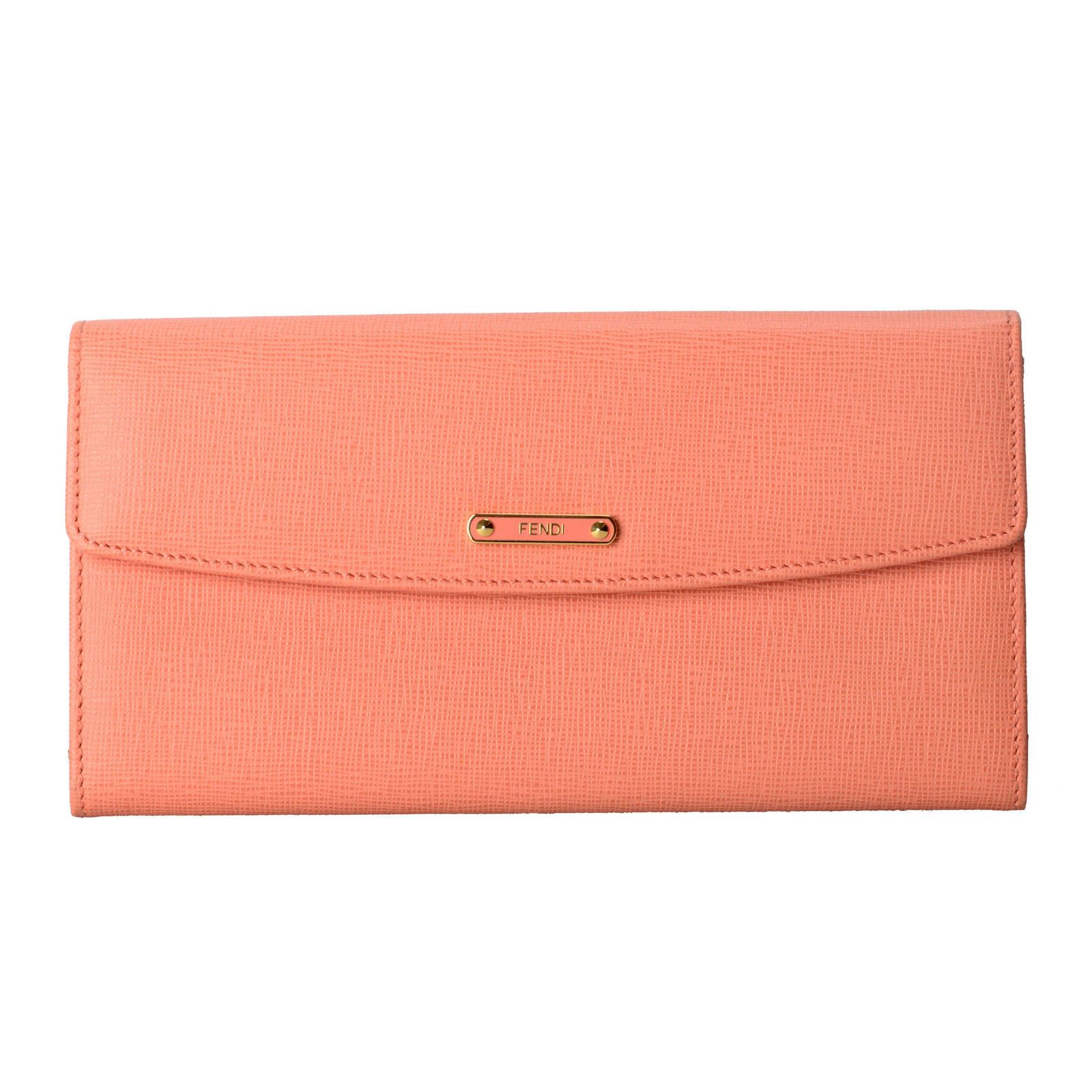a95db47be3 Details about Fendi Women's Pink Saffiano Leather Continental Crayons Wallet