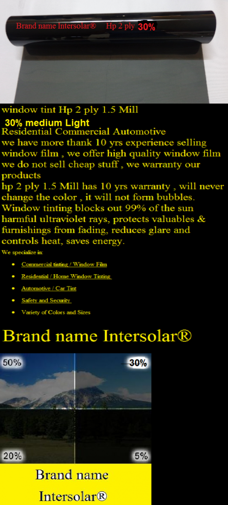 30 Charcoal Black 36 Quot X50 Window Tint Film Hp 2ply Home