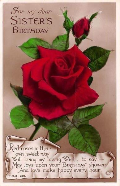 For My Dear Sisters Birthday Red Roses Sweetest Thoughts Kindest