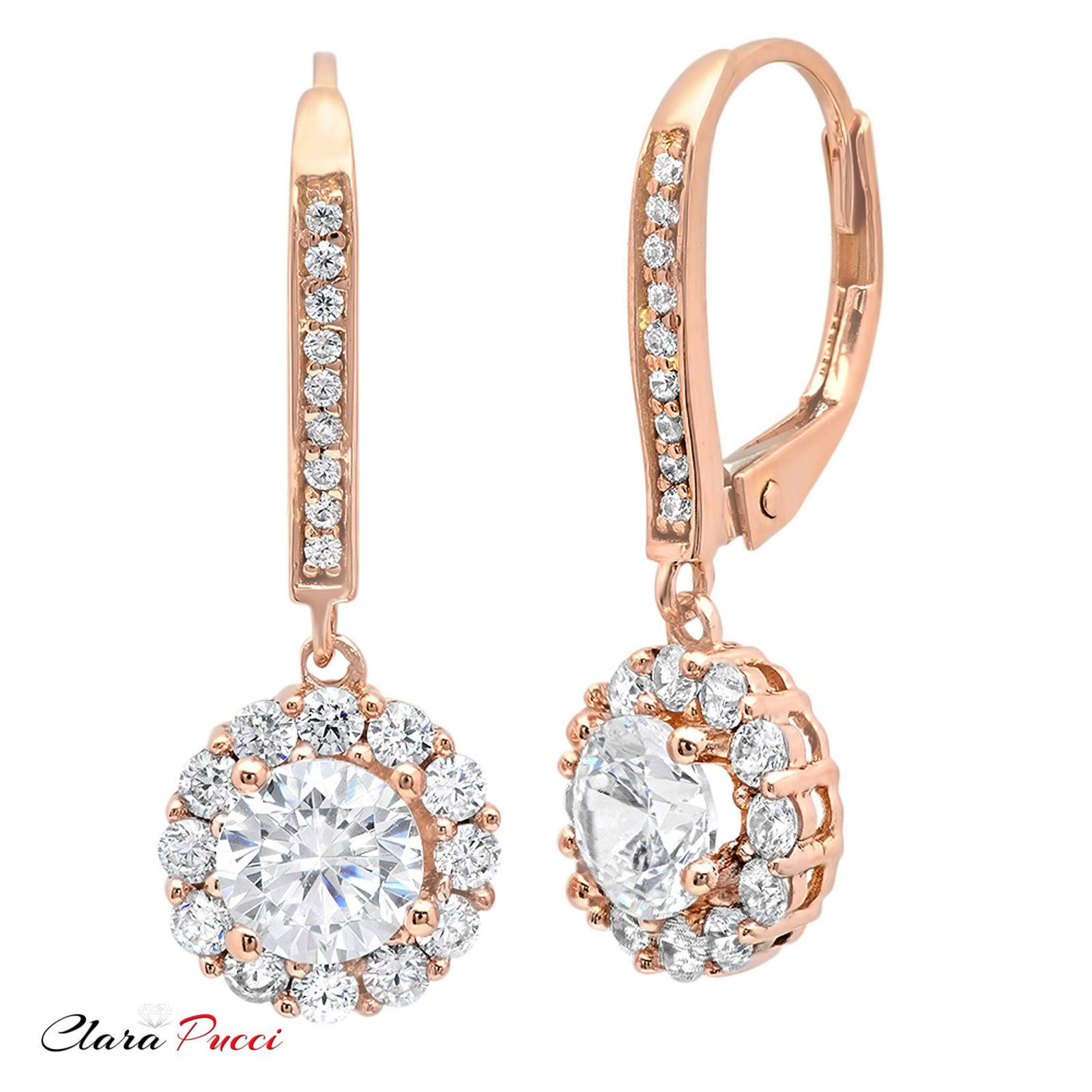 3 45CT Sim Round CUT Halo PAVE DROP DANGLE LEVERBACK EARRINGS 14K