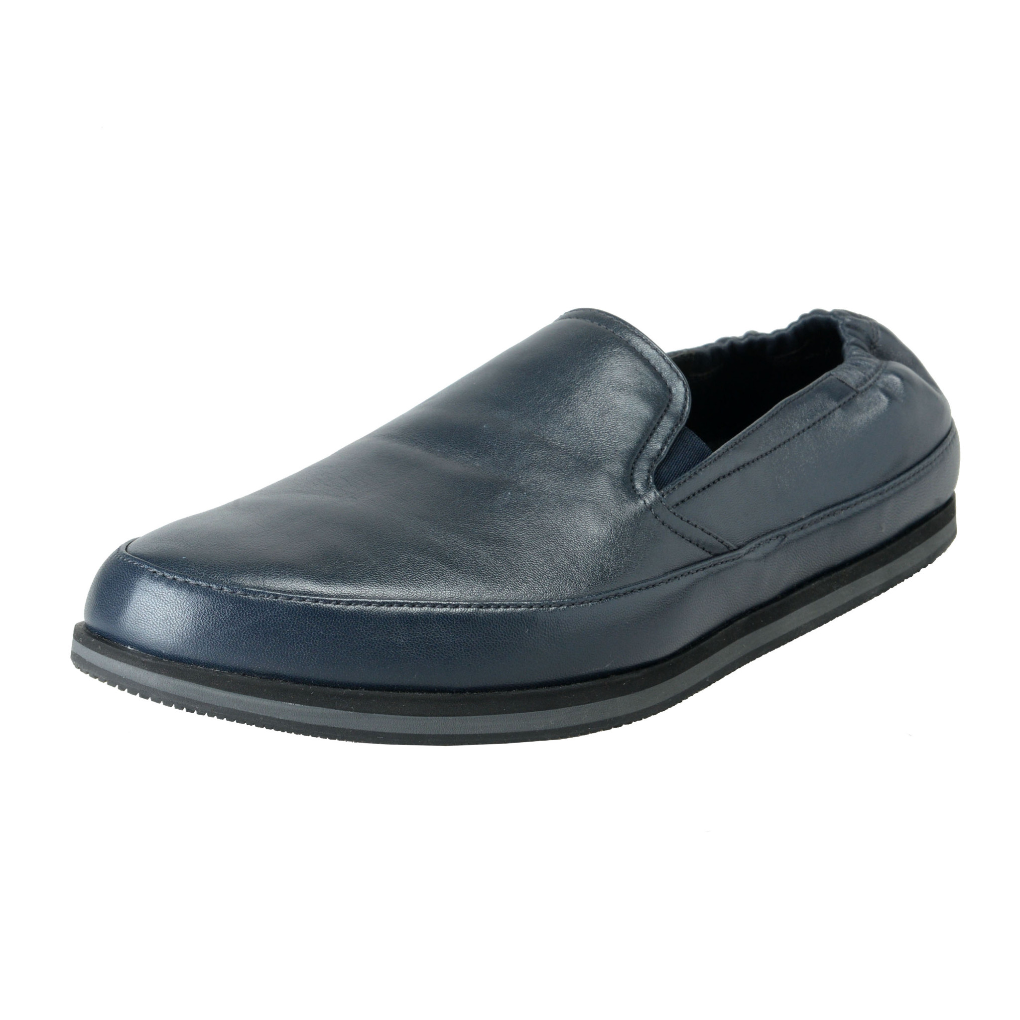 03a9492f8e8 Details about Prada Men s Deep Blue Leather Casual Slip On Loafers Shoes Sz  10 10.5